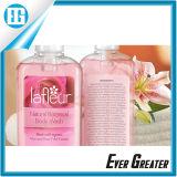 Etiqueta engomada de doble cara del color de rosa de las instrucciones del texto de los productos de la ducha de bebé