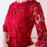 Brautjunfer kleidet einfache elegante halbe Hülsen-Spitze-Hochzeitsfest-Kleider