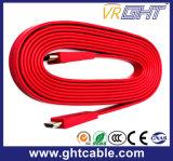 Cabo liso da alta qualidade vermelha HDMI (F016)
