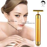 equipo de oro de la belleza del masaje del vibrador de la barra de la belleza de la piel 24k