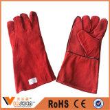 Перчатки безопасности красной перчаток заварки коровы индустрии кожаный работая