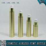 Botella privada de aire cosmética plástica de la loción del oro con la bomba