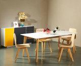 現代純木の紫外線光沢度の高く白いダイニングテーブル (思想家 601)