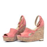 (Donna-in) caviglia Strap&#160 della pelle scamosciata del capretto; Donne Cork Sandali del cuneo