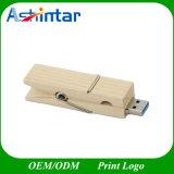 Привод вспышки USB зажима флэш-память Pendrive ручки USB деревянный