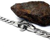 Estilo do punk do crânio da forma da cor da prata do aço inoxidável dos braceletes dos homens
