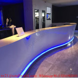 Curved White Marble LED Coffee Bar Counter Commercial Coffee Shop Furniture