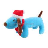 Noël cadeau promotionnel chien peluche peluche peluche jouet au chapeau de Noël