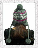 Cappello del Beanie lavorato a maglia cotone del jacquard di modo con il nuovo disegno (1-3501)