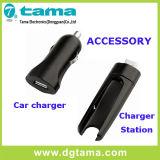 Auriculares do fone de ouvido de Bluetooth com estação de carregador do carro e de carregador do USB