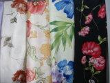 Poly tissu de satin d'impression pour la robe de femmes