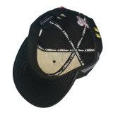 Tampão preto do Snapback do algodão com logotipo dourado