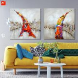 Домашняя картина маслом изображения стены типа шаржа Эйфелевы башни декора