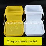 Cubeta quadrada do empacotamento plástico de produto comestível 2L com punho