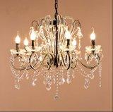 канделябр освещения потолочной лампы традиционного живущий металла комнаты 6-Lights кристаллический в черноте, Dia560mm