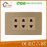 Acero inoxidable cepillado 1gang pequeño interruptor de pared del botón de empuje