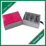 분홍색 색깔 마분지 서랍 상자
