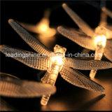 Chaîne de caractères blanche chaude de quirlande électrique de libellule de batterie d'aa pour la décoration à la maison