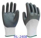 Gants de travail de polyester enduits par nitriles fermes d'adhérence