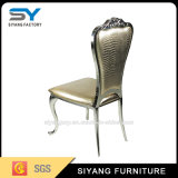 Cadeira de jantar de couro em aço inoxidável empilhável em ouro