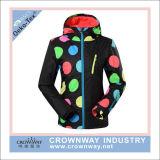 두건을%s 가진 다채로운 인쇄 형식 여자 스키 재킷