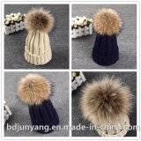 レディース女の子は毛皮の帽子の実質の大きい毛皮の冬の帽子を編んだ