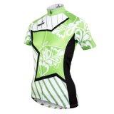 Cycling Jerseys Breathable Row di riciclaggio delle camice del manicotto verde di Short di estate delle bande & della stella delle donne/signora dello sport del Han esterna