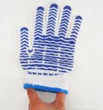 Неподдельные Di-Покрынные перчатки пункта волны синих хлопков пластичные для работы