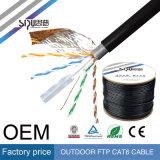 Câble extérieur imperméable à l'eau de la jupe CAT6 SFTP du prix usine de Sipu 4pr