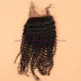 capelli peruviani del Virgin 8A con riccio crespo della chiusura bassa di seta con i capelli ricci crespi del Virgin della chiusura bassa di seta con chiusura