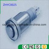 interruptor de tecla do metal de 16mm com luz do diodo emissor de luz e função momentânea/de travamento automático (cabeça lisa elevada)