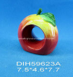 Pintado a mano de cerámica Servilletero de Apple