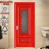 浴室のマホガニーによって汚される木製のGalssのドア(GSP3-012)