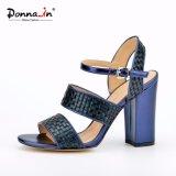 (Donna-в) сандалии женщин высокой пятки заплатки Weave способа толщиные