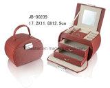 Couro Oval Handmade da Caixa de Jóia da Forma do Presente da Promoção