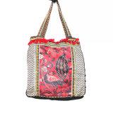 刺繍およびふさが付いている高品質ファブリックハンドバッグ
