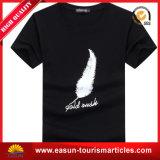 Le blanc bon marché a coupé et coud le T-shirt fait sur commande de V-Collet de logo de T-shirt de T-shirt