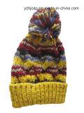 Sombrero hecho punto POM de encargo del sombrero POM del Knit del telar jacquar del sombrero del invierno del sombrero del sombrero de acrílico de la gorrita tejida