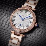La vigilanza di cristallo dei monili dell'oro della Rosa delle donne dell'orologio del quarzo delle signore di modo con 10ATM impermeabilizza la qualità 71041