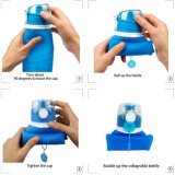 Бутылка воды силикона складывая с крышками доказательства утечки