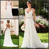 Платья венчания Ld1156 пляжа шифоновой Bridal мантии V-Шеи шифоновые отбортовывая