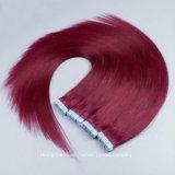 """26 """" 빨간색 머리 40PCS 테이프 머리 연장 Remy 머리 백색은 접착제로 붙인다"""