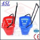 Supermarket van uitstekende kwaliteit Basket met Wheels met Ce en ISO