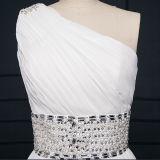 Perlando os vestidos de casamento Chiffon plissados do Um-Ombro (TM-AL006)