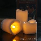 Vela branca de cintilação amarela do diodo emissor de luz da base para a decoração Home