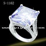 Anello di diamante dell'argento sterlina dei monili 925 di modo con la pietra di Zirconia