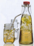 480ml Glass Jar con Handle e Metal Lids e Straw