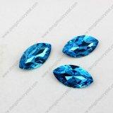 7*15mm Navette Aquamarine Sew su Rhinestone Crystals