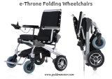 E-Thron 8 '' /10 '' /12 '' goldener Bewegungsleichter schwanzloser faltender Energie E-Rollstuhl mit Batterie LiFePO4