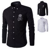Chemise de robe de noir de chemise de la mode des hommes neufs longue (A434)